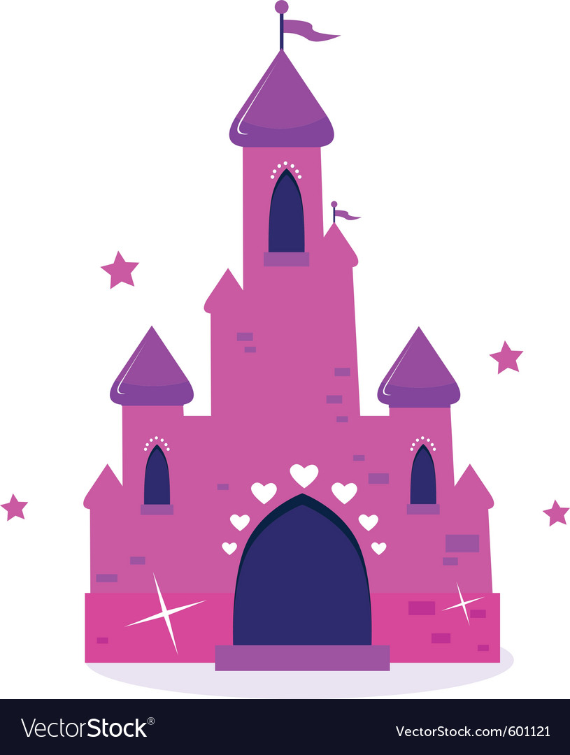Pink princess cartoon castle isolated on white vector | Price: 1 Credit (USD $1)