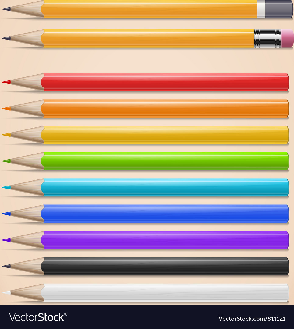 Realistic colorful pencils set vector | Price: 1 Credit (USD $1)