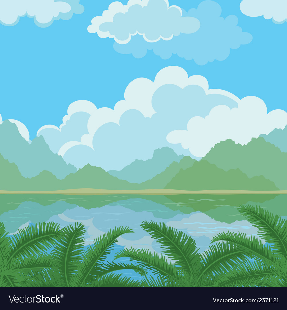 Seamless landscape sea and plants vector | Price: 1 Credit (USD $1)