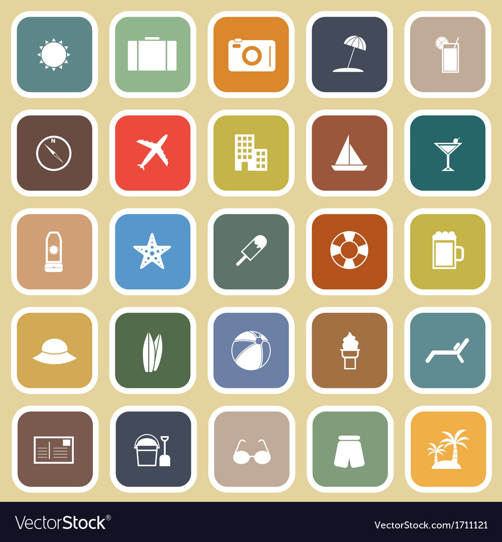 Summer flat icons on brown background vector | Price: 1 Credit (USD $1)