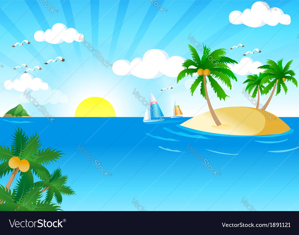 Sunny and sea vector | Price: 1 Credit (USD $1)