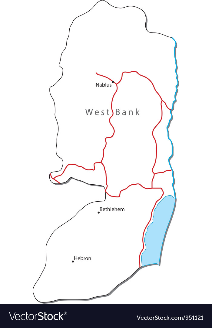 West bank black white map with major cities vector | Price: 1 Credit (USD $1)