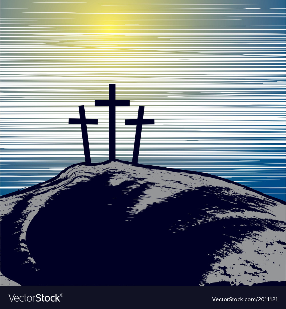 With mountain with three crosses vector | Price: 1 Credit (USD $1)