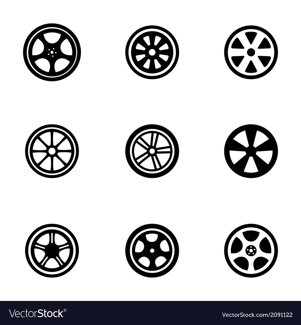 Black wheel disks icons set vector | Price: 1 Credit (USD $1)