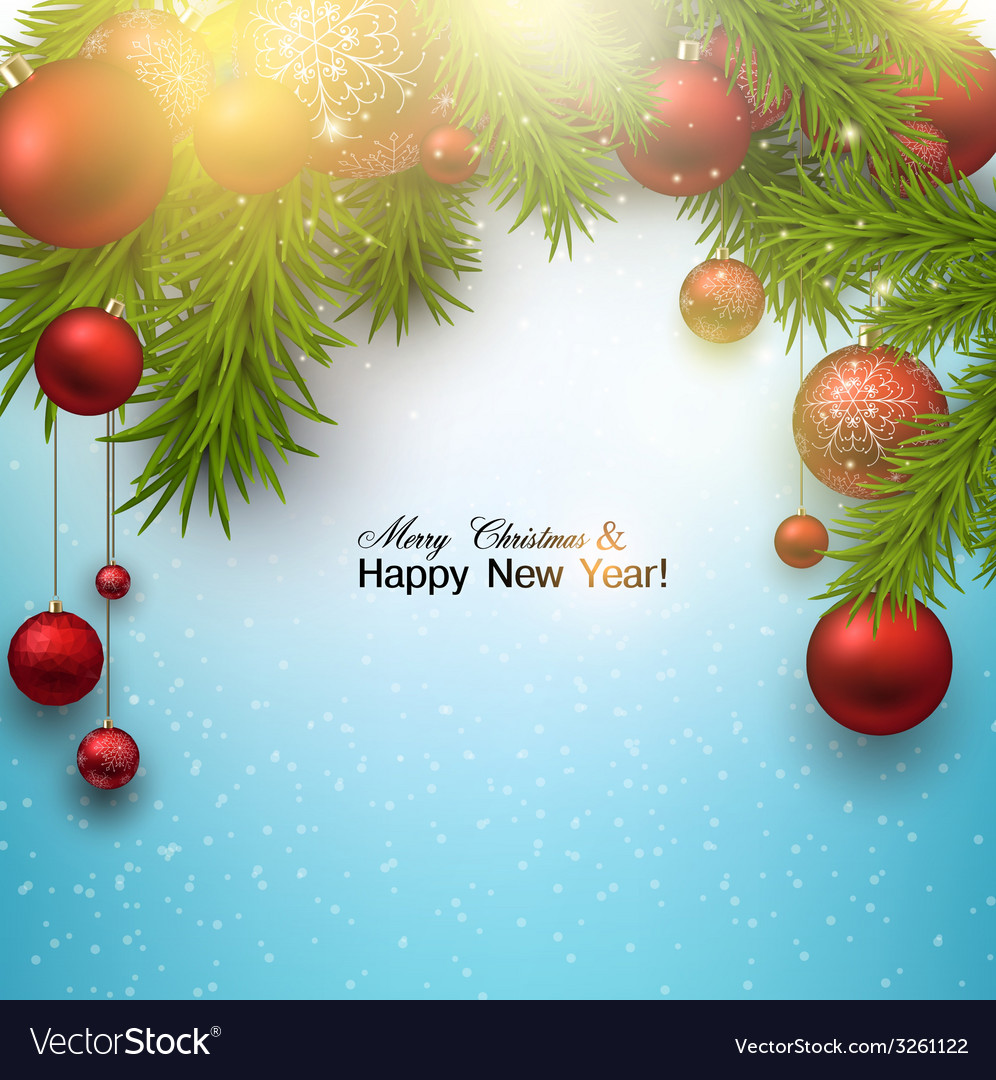 Christmas background with red balls and green vector | Price: 1 Credit (USD $1)