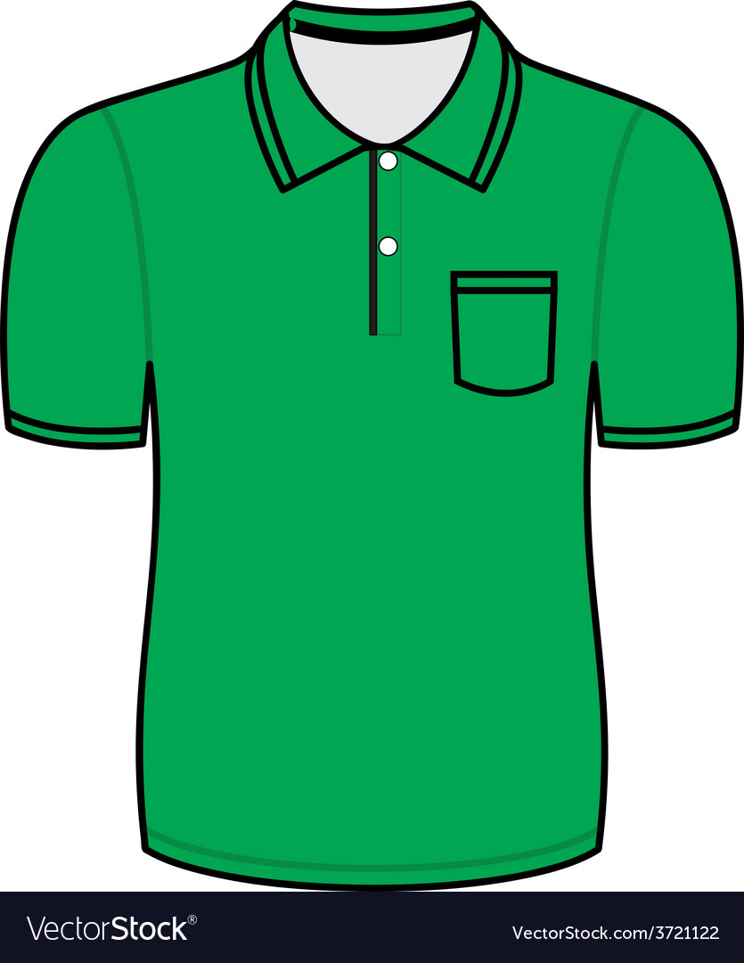 Green polo shirt outline vector | Price: 1 Credit (USD $1)