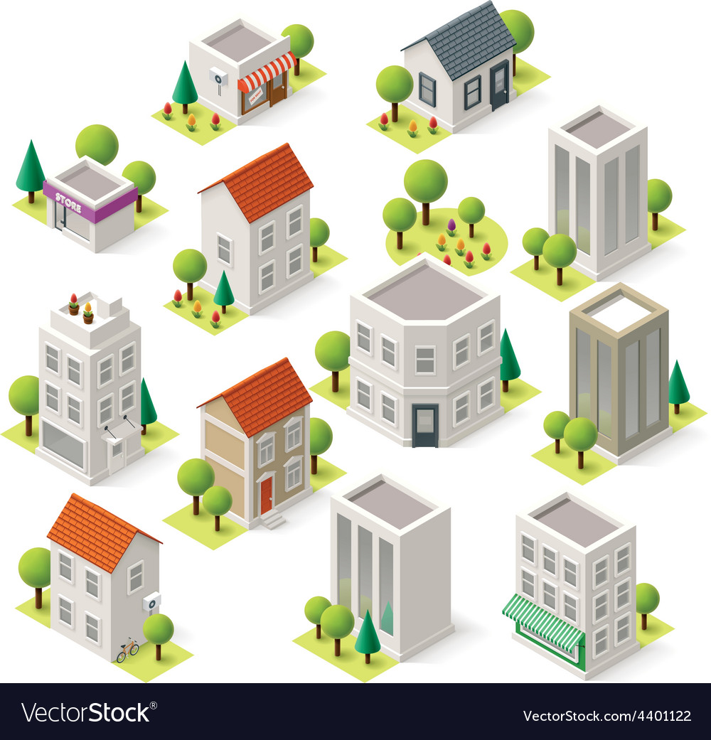 Isometric city buildings set vector | Price: 3 Credit (USD $3)