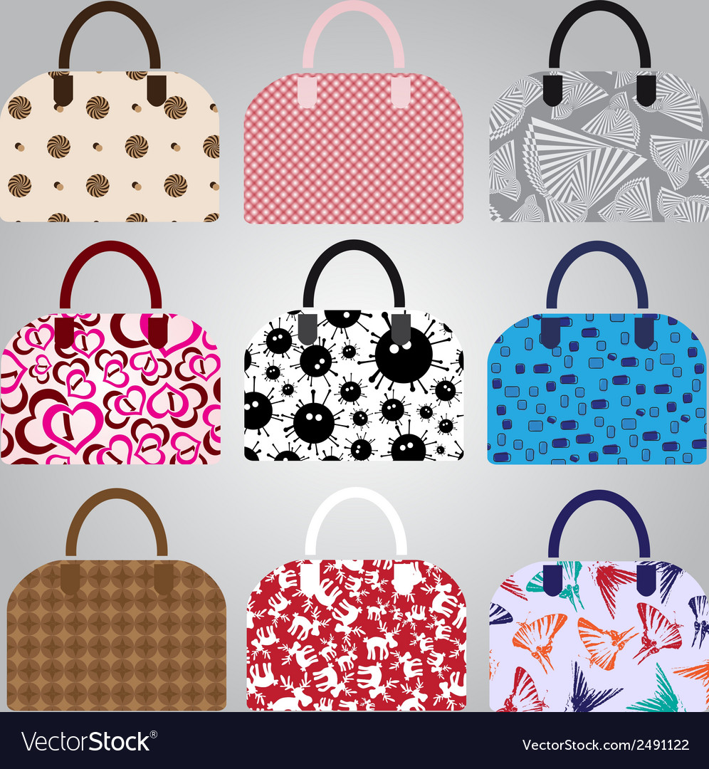 Nine types of lady colorful handbags eps10 vector | Price: 1 Credit (USD $1)