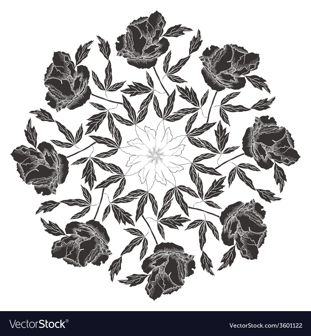 Ornamental round with black peonies vector | Price: 1 Credit (USD $1)