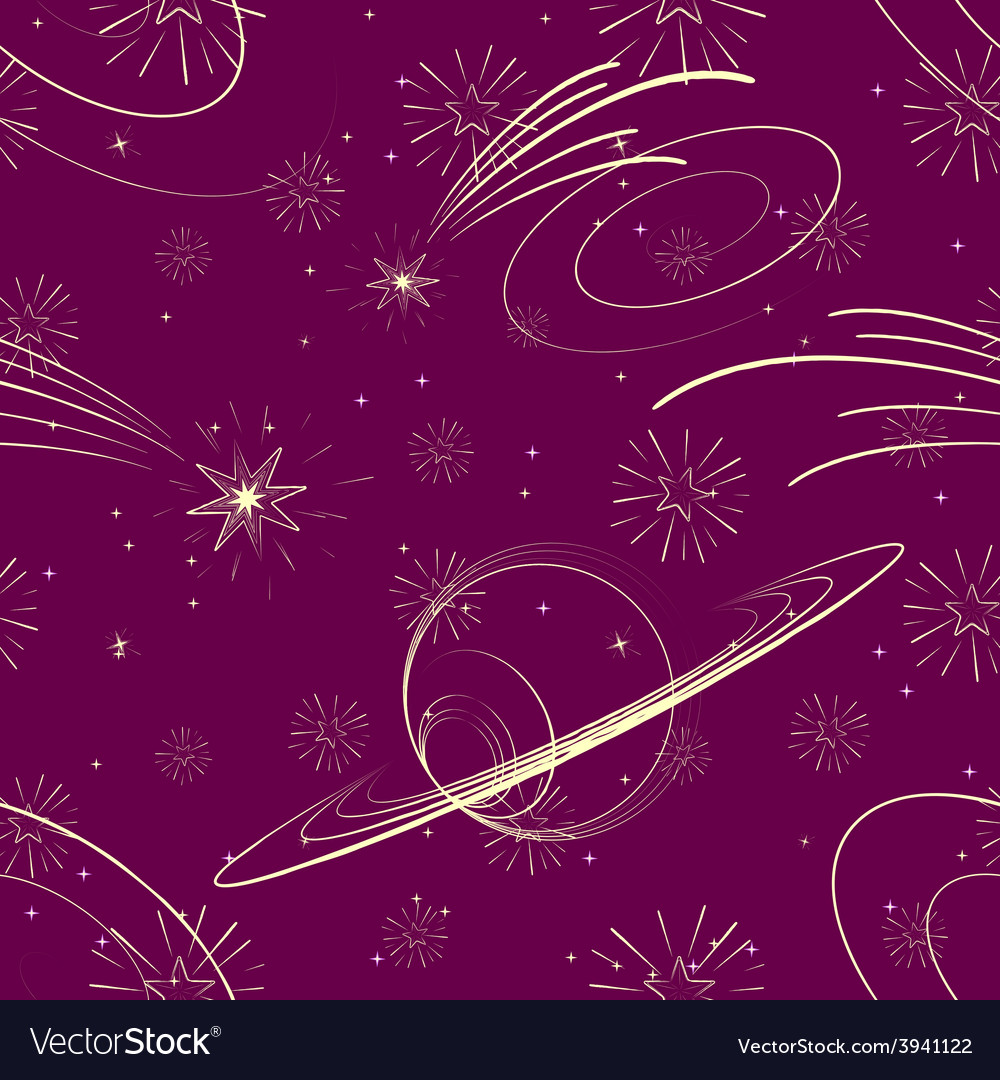 Seamless starry background with planets vector | Price: 1 Credit (USD $1)