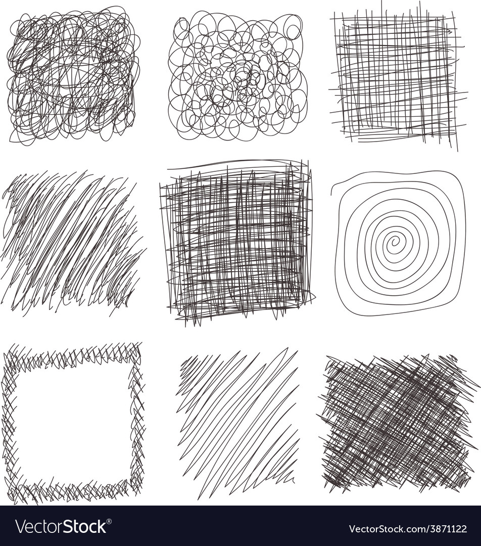 Set of hand drawn lines textures scribbles of pen vector | Price: 1 Credit (USD $1)