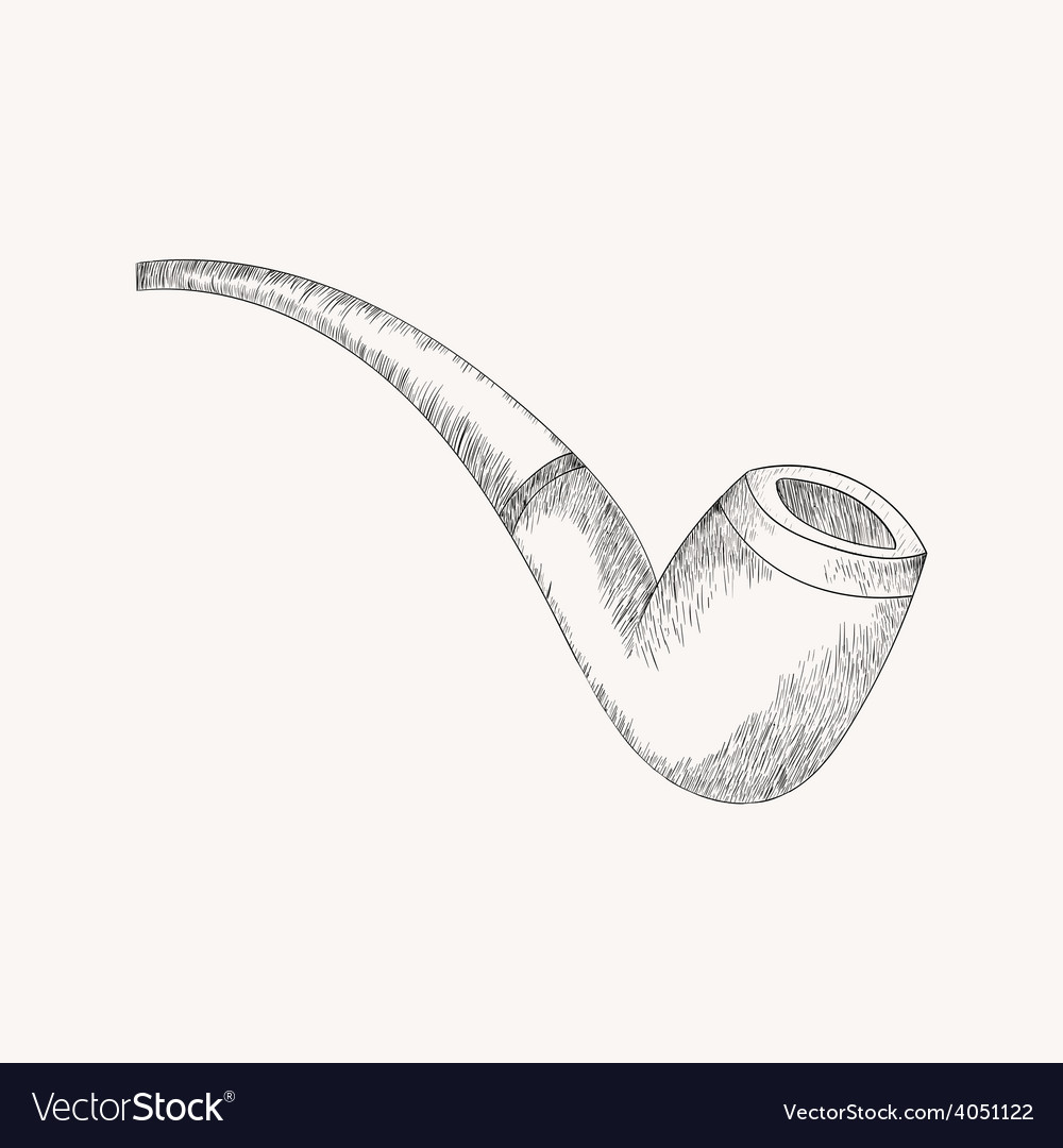 Sketch tobacco pipe hand drawn doodle vector | Price: 1 Credit (USD $1)