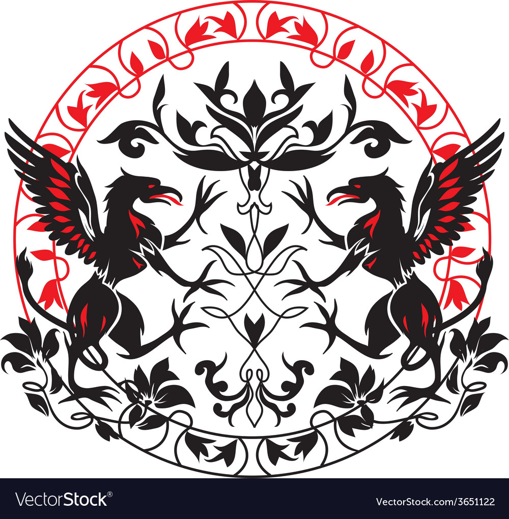 Standing black griffin with flower vector | Price: 1 Credit (USD $1)