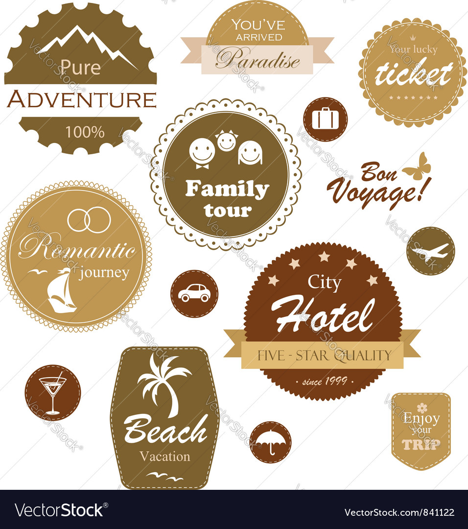 Travel and vacation labels vector | Price:  Credit (USD $)