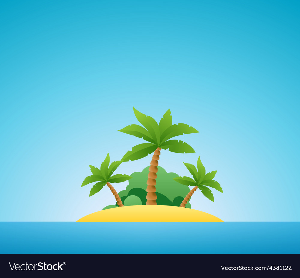 Tropical island nature landscape vector | Price: 1 Credit (USD $1)