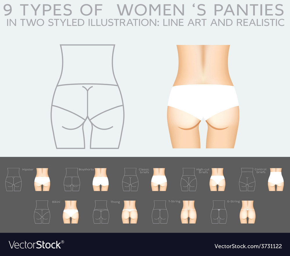 Underwear set 9 types of womens panties in two vector | Price: 1 Credit (USD $1)