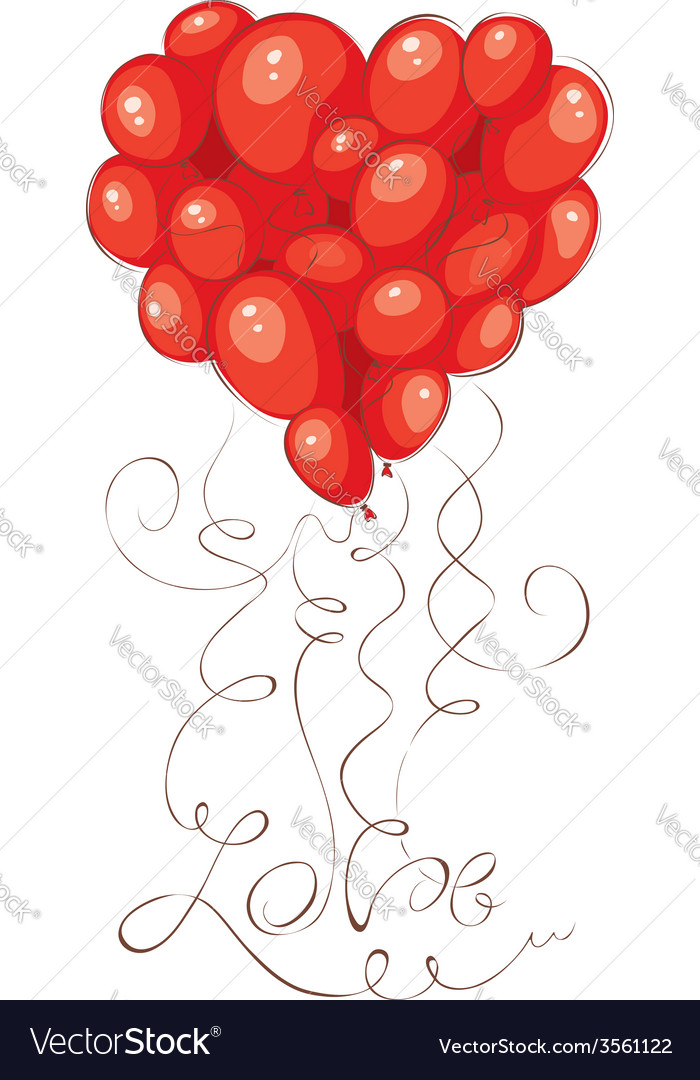 Valentine card - heart made of balloons vector | Price: 1 Credit (USD $1)