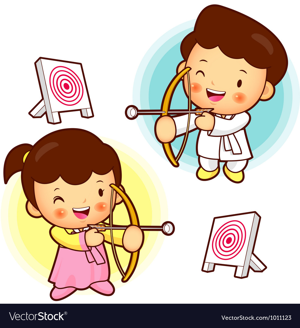 Archery games south korea children vector | Price: 3 Credit (USD $3)