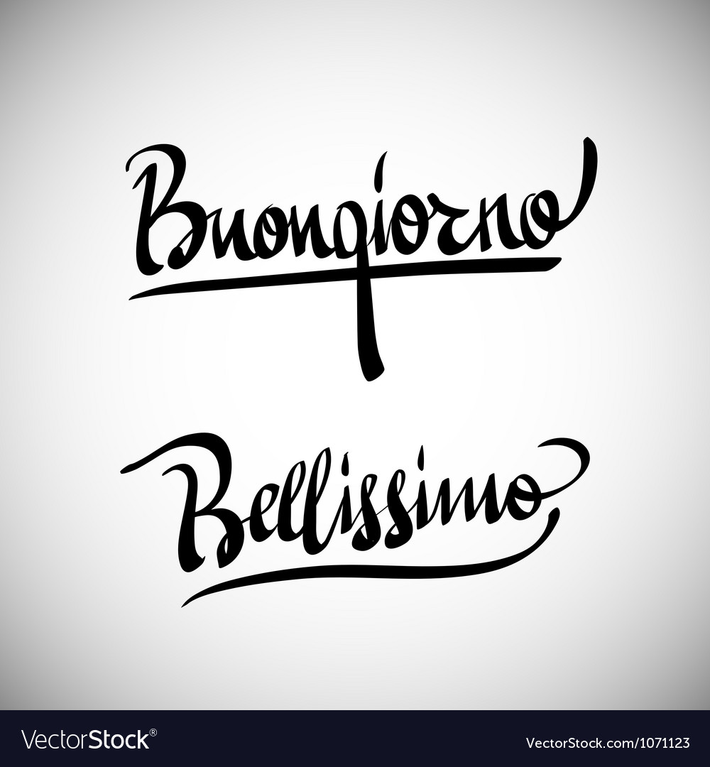 Buongiorno greetings hand lettering set vector | Price: 1 Credit (USD $1)