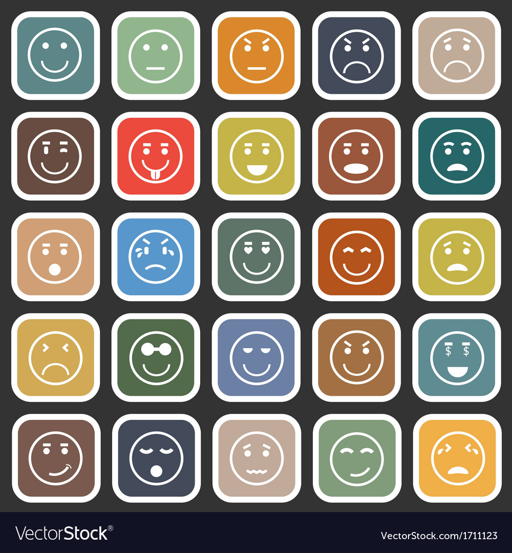 Circle face flat icons on balck background vector | Price: 1 Credit (USD $1)