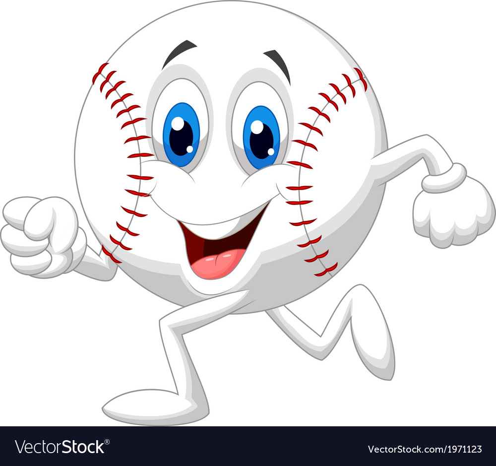 Cute baseball ball cartoon running vector | Price: 1 Credit (USD $1)