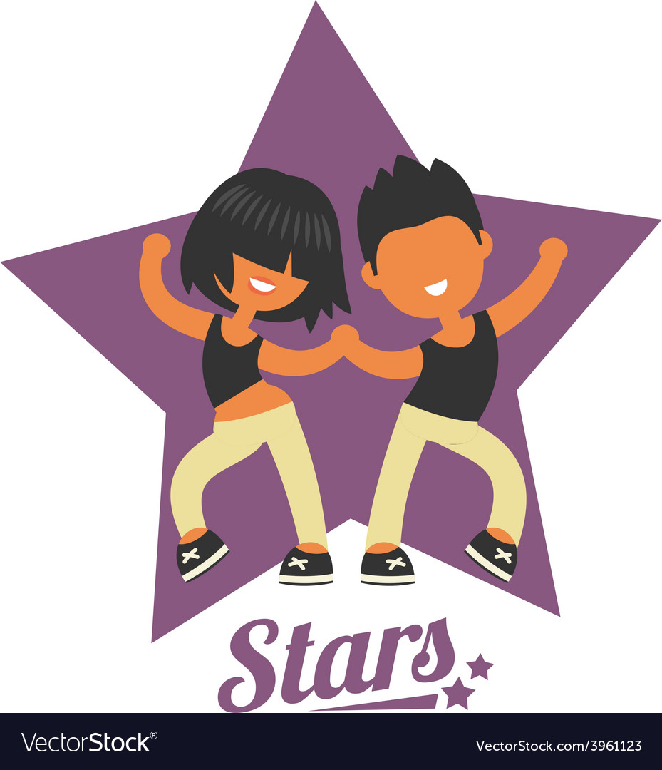 Dance school logo twosome dancers vector   Price: 1 Credit (USD $1)
