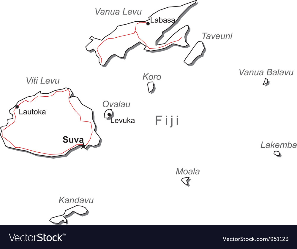 Fiji black white map vector | Price: 1 Credit (USD $1)