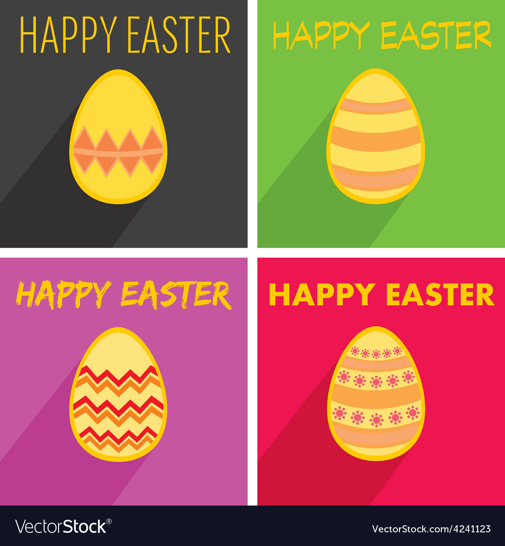 Flat easter egg set with wishes and long shadow vector | Price: 1 Credit (USD $1)