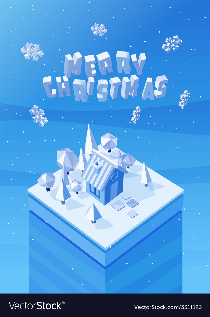 Image of the blue wooden christmas house vector | Price: 1 Credit (USD $1)