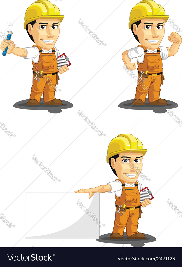 Industrial construction worker mascot 7 vector | Price: 1 Credit (USD $1)