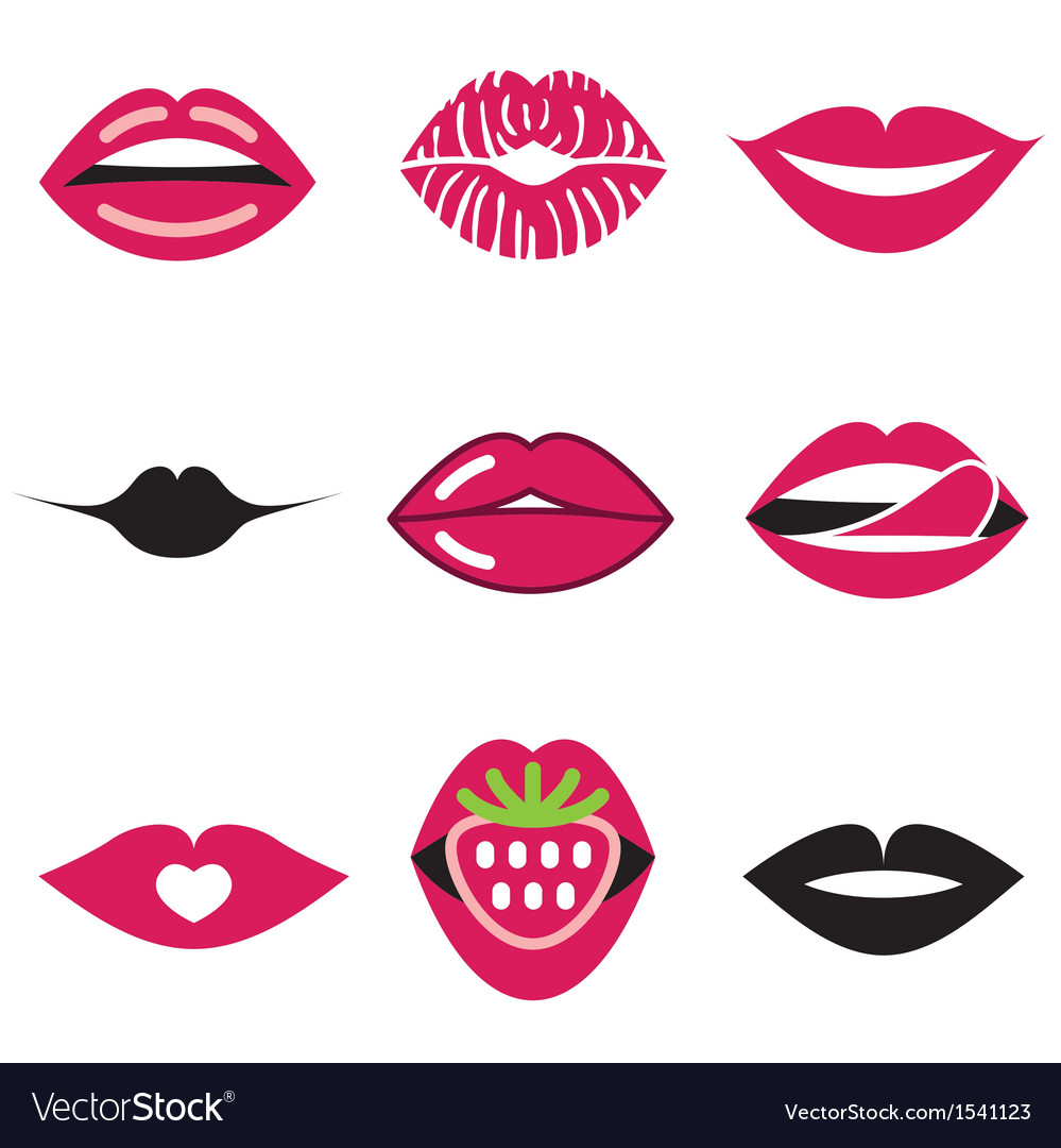 Logo icons lips vector