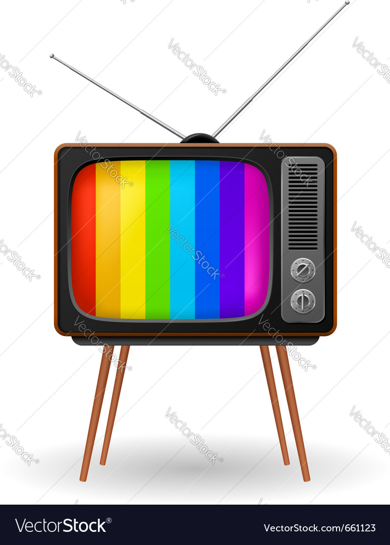 Retro tv with color frame vector | Price: 1 Credit (USD $1)