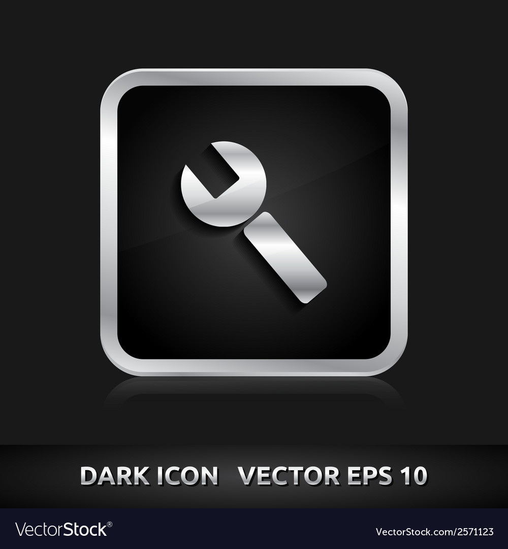 Settings key icon silver metal vector | Price: 1 Credit (USD $1)