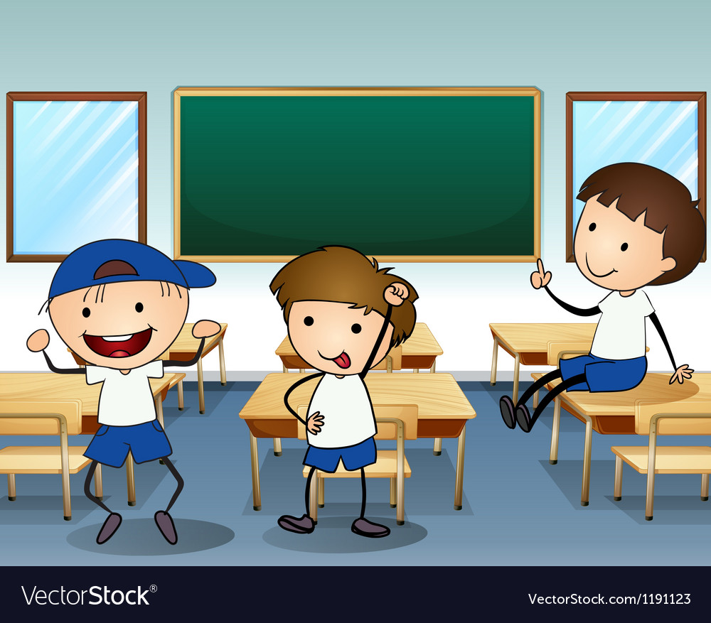 Three boys laughing inside the classroom vector | Price: 1 Credit (USD $1)