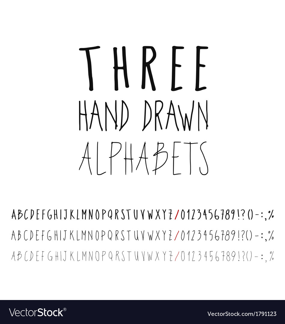 Three hand drawn grunge alphabets collection vector | Price: 1 Credit (USD $1)