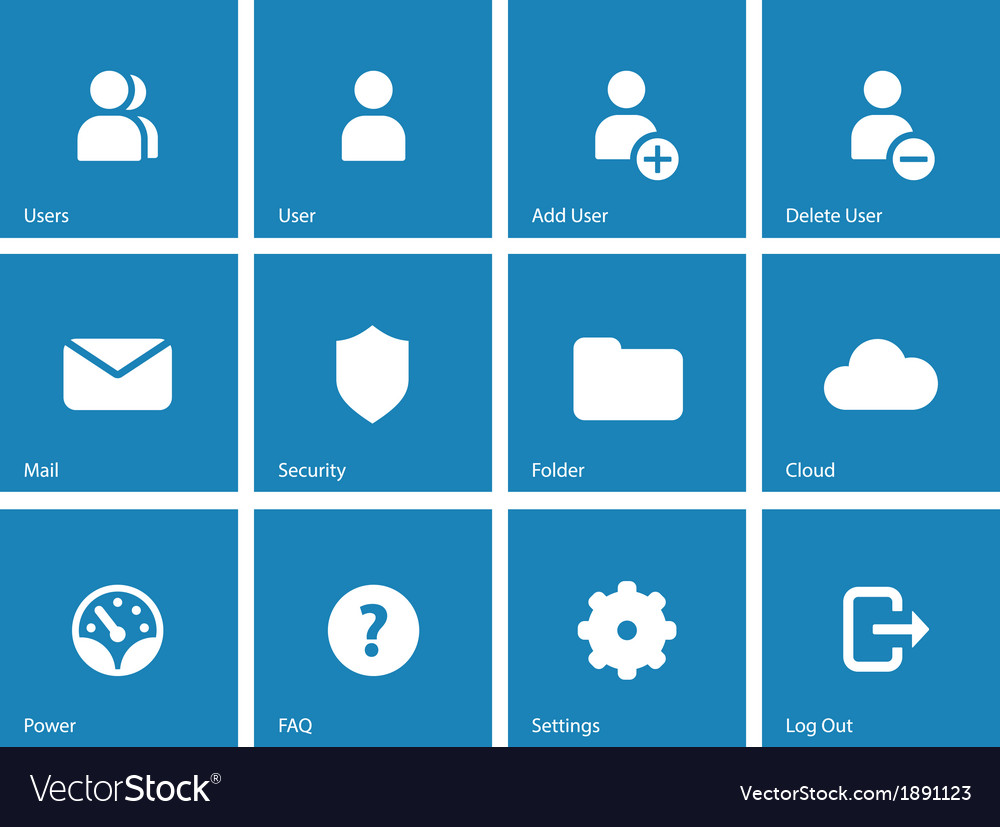 User account icons on blue background vector   Price: 1 Credit (USD $1)