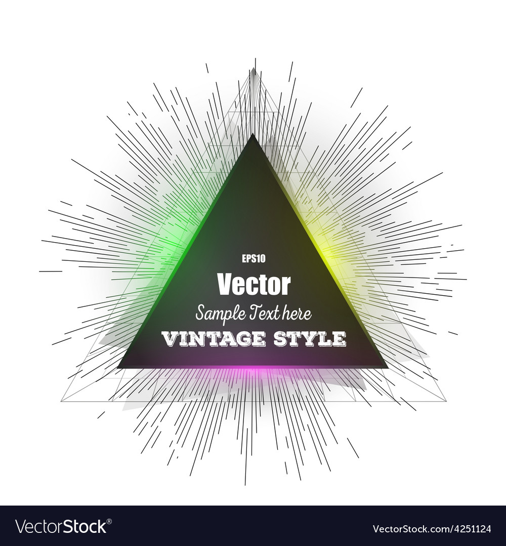 Abstract triangle banner vintage style star burst vector | Price: 1 Credit (USD $1)