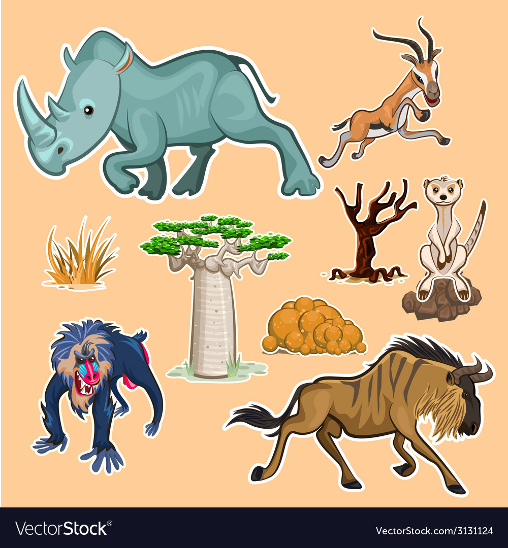 Africa animals trees collection set 02 vector | Price: 1 Credit (USD $1)