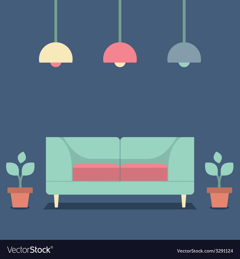 Flat design interior vintage sofa vector | Price: 1 Credit (USD $1)