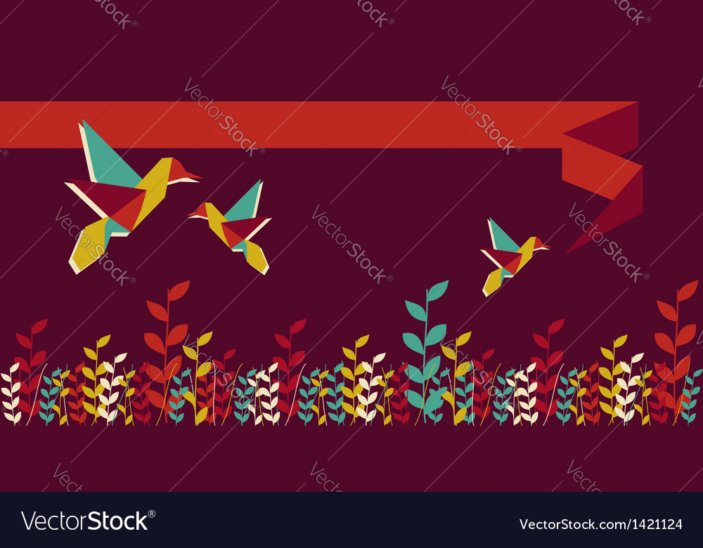 Origami hummingbird group banner vector | Price: 1 Credit (USD $1)