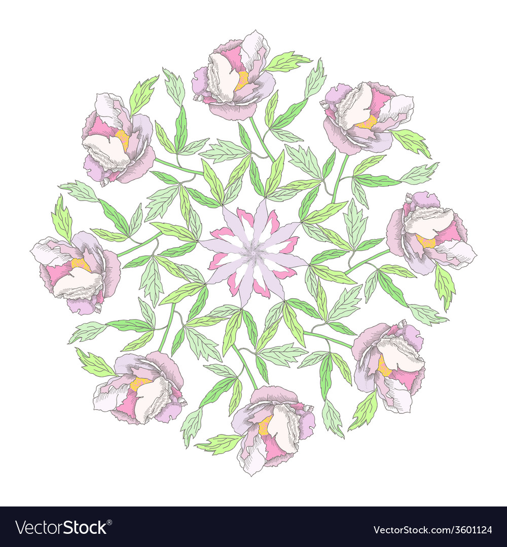 Ornamental round with color peonies vector | Price: 1 Credit (USD $1)