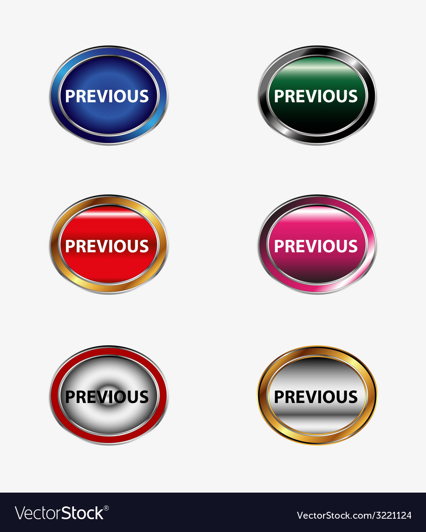 Previous buttons set vector | Price: 1 Credit (USD $1)