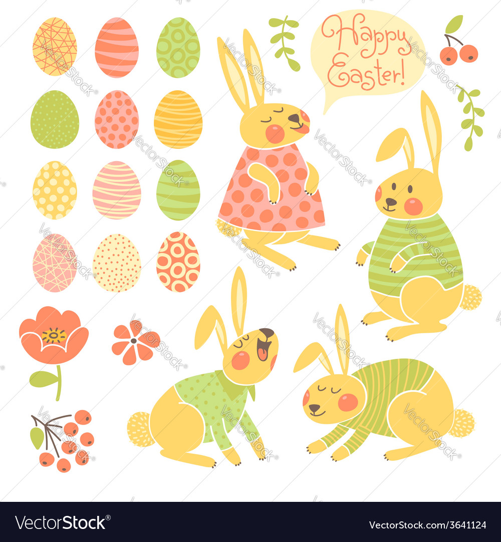 Set of elements for design happy easter vector | Price: 1 Credit (USD $1)