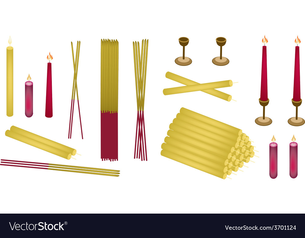 Set of joss sticks and candle for make merit vector | Price: 1 Credit (USD $1)
