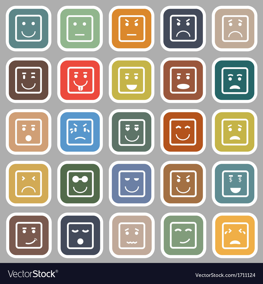 Square face flat icons on gray background vector | Price: 1 Credit (USD $1)