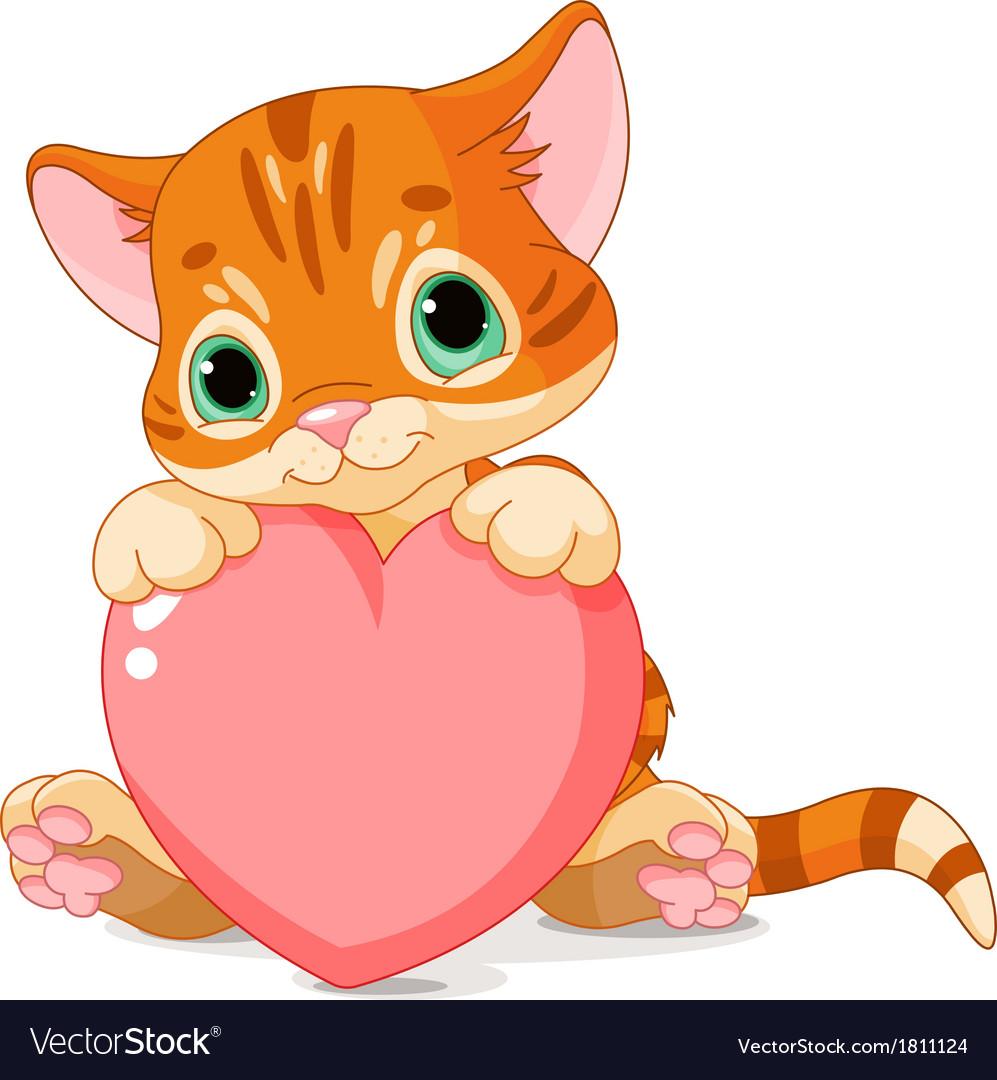 Valentines day kitten vector | Price: 1 Credit (USD $1)