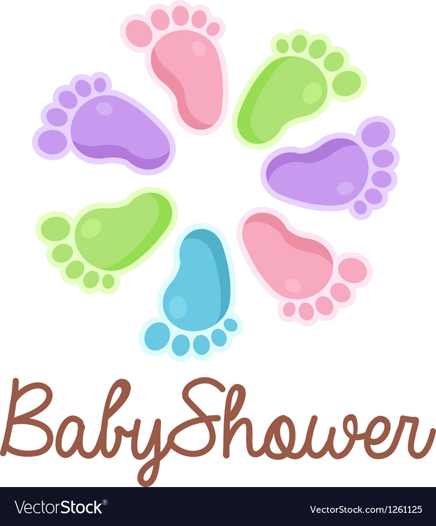 Baby shower feet emblem vector | Price: 1 Credit (USD $1)