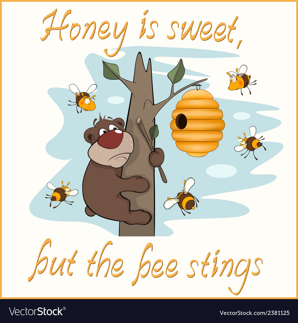 Bear and bees postcard vector | Price: 1 Credit (USD $1)