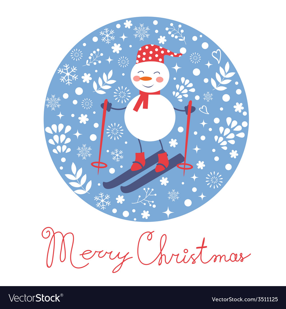 Beautiful christmas card with snowman skiing vector | Price: 1 Credit (USD $1)