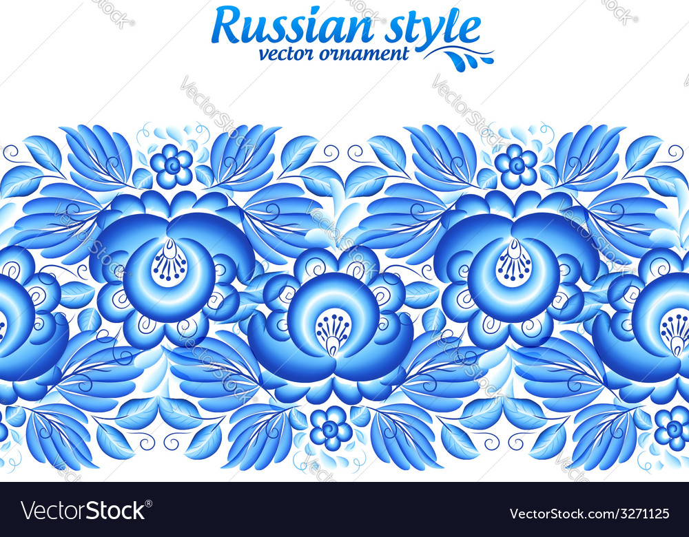 Blue floral ornate line in gzhel style vector | Price: 1 Credit (USD $1)